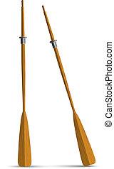 Two wooden oars