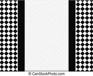checkered, cornice, nero, fondo, bianco, nastro