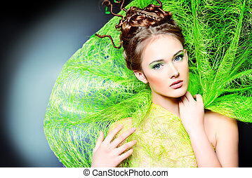 fashion of spring - Fashion shot of a stunning female model...