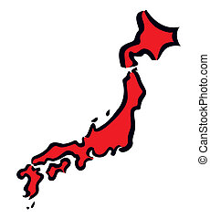 Red abstract map of Japan