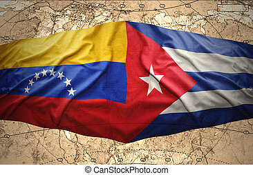 Cuba and Venezuela - Waving Cuban and Venezuelan flags on...