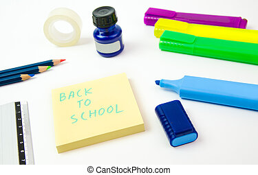 Back to school - Markers sticky notes crayons duck tape