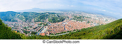 Old city of Brasov in Transylvania region of Romania in a...