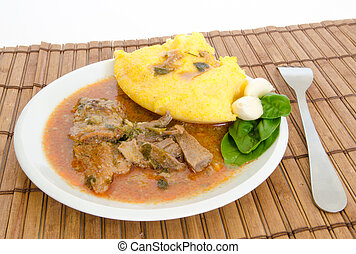 Polenta with lamb stew - Traditional polenta with lamb stew...