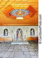 The entrance interior in Varlaam monastery, Meteora, Greece
