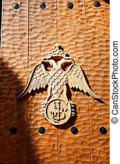 The emblem on the gate of Varlaam monastery, Meteora, Greece