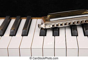 Mouth organ and piano keyboard