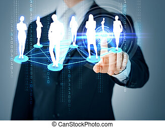 man hand pointing at social or business network - business...