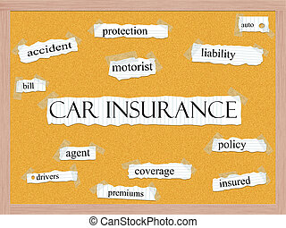 Car Insurance Corkboard Word Concept with great terms such...