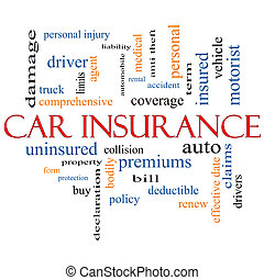 Car Insurance Word Cloud Concept with great terms such as...