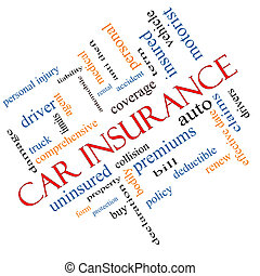 Car Insurance Word Cloud Concept Angled
