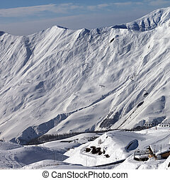 View on ski resort Gudauri in sun day Caucasus Mountains,...