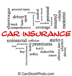 Car Insurance Word Cloud Concept in red caps with great...