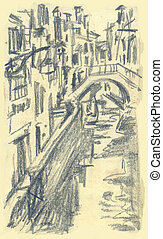 Ponte Mocenigo, Venice - Hand drawn picture of Ponte...