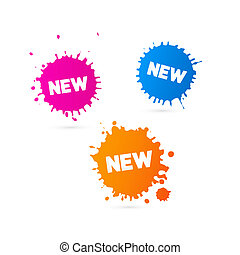 Vector Pink, Orange and Blue Stickers - Stains With New...