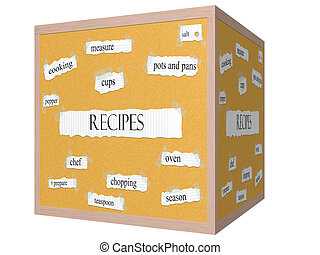 Recipes 3D cube Corkboard Word Concept with great terms such...