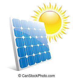 solar panel - Illustration of the sun and solar panels...