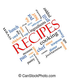 Recipes Word Cloud Concept Angled - Recipes Word Cloud...