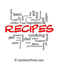 Recipes Word Cloud Concept in red caps with great terms such...