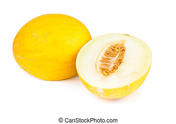 Canary Melon - Canary melon over white background.