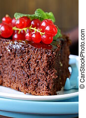 super chocolate cake (brownie) decorated with red currant...