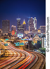 Atlanta, Georgia Skyline - Traffic in Atlanta, Georgia, USA.