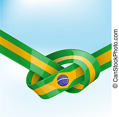 brazil ribbon  flag on background