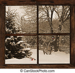 Winter morning view. - Sepia toned image of a mother, and...