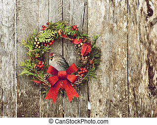 Christmas wreath with pretty bird - Christmas wreath with...
