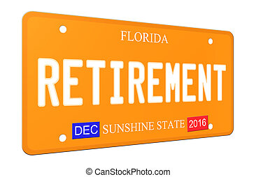 3D Retirement Florida License plate - An imitation 3D...