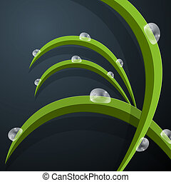 Abstract Vector Green Grass Leaves Background With Water Drops