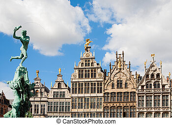 Grote Markt Antwerp - Guildhouses in Antwerp with the statue...