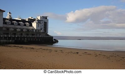 Marine Lake in Weston-super-Mare Somerset England on a sunny...