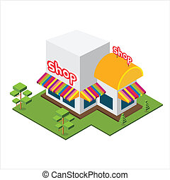 Isometric Big Shop, Isolated vector shop