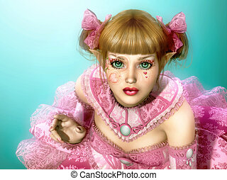 Girl in Lolita Style Dress 3d CG - 3d computer graphics of a...