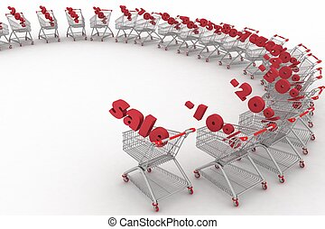 Concept of discount Shopping carts full of percentage sale