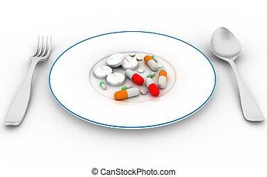 Pills on the plate. 3d render illustration.