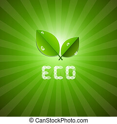 Green Vector Ecology Background With Leaves And ECO Title
