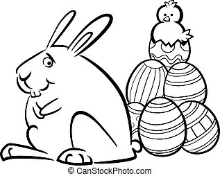 easter bunny and eggs coloring page - Black and White...