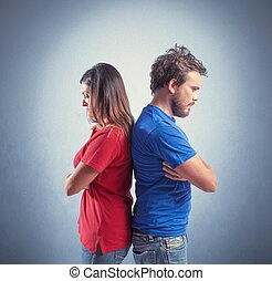 Couple fighting - Concept of young couple with relationship...
