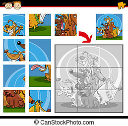 cartoon dogs jigsaw puzzle game - Cartoon Illustration of...