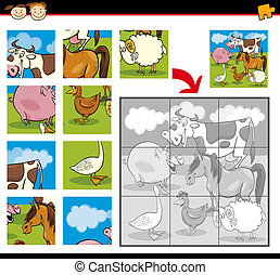 cartoon farm animals jigsaw puzzle - Cartoon Illustration of...