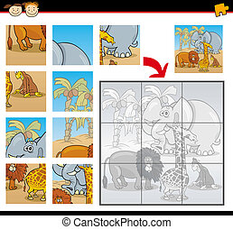 cartoon wild animals jigsaw puzzle game - Cartoon...