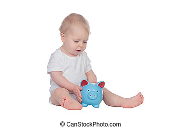 Adorable blonde baby in underwear with a blue moneybox...