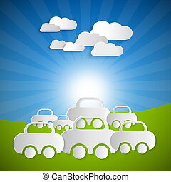 Vector Landscape Background With Paper Cars and Clouds on Blue sky