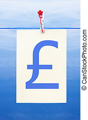 Seamless washing line with paper showing pound sterling
