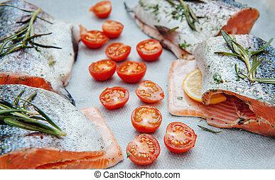 fresco, salmão, cereja, tomate