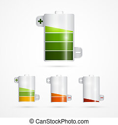 Battery Icon. Battery Life Set Isolated on White Background.