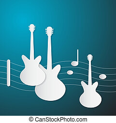 Abstract Blue Music Background. Guitars and Staff Made from Paper.