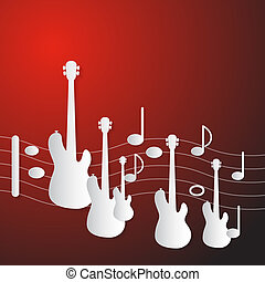 Abstract Red Music Background. Guitars and Staff Made from Paper.